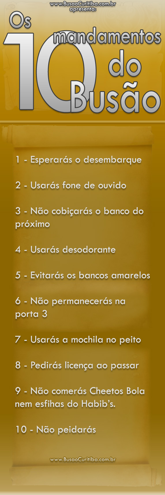 10 mandamentos do busão
