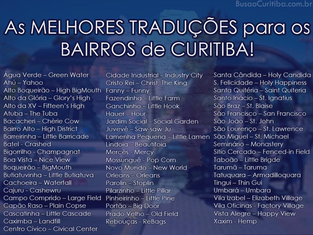 Tradução para os bairros de Curitiba